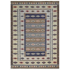 Early 1900s Swedish Signed Handwoven Wool Kilim Rug