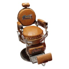 Early 1900s Theo A Kochs Wood Barber Chair