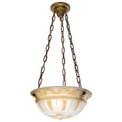Early 1900s Victorian Hanging Dish Pendant Light with Cast Glass, Brass Hardware