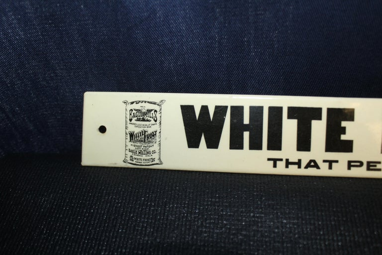 Early 1900s White Frost Flour Eagle Mills Co. Tin Advertising Sign For Sale 7