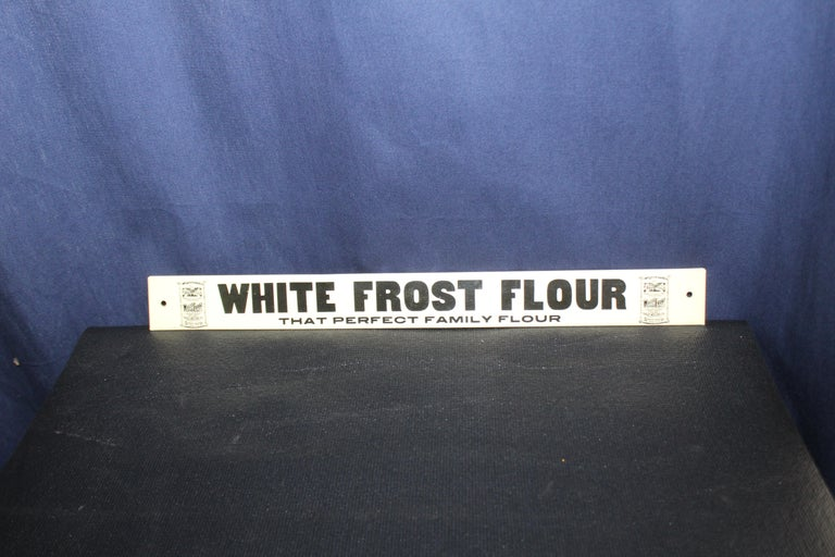 American Early 1900s White Frost Flour Eagle Mills Co. Tin Advertising Sign For Sale