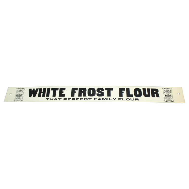 Early 1900s White Frost Flour Eagle Mills Co. Tin Advertising Sign For Sale