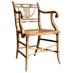 Early 19th Century Regency Period Faux Bamboo Armchair with Cane Seat