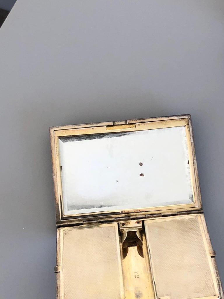 Early 1910 Art Deco Silver Black Enamel Diamond Powder Compact Signed Ghito  For Sale 5