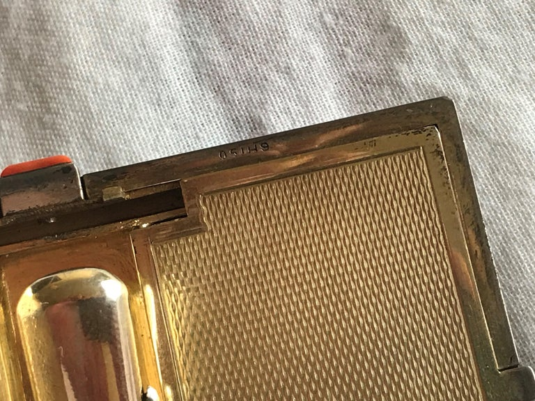Women's or Men's Early 1910 Art Deco Silver Black Enamel Diamond Powder Compact Signed Ghito  For Sale