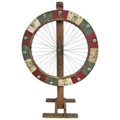 Early 1930s Folk Art Wooden Tire Game Wheel