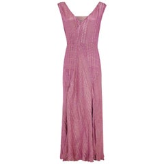Early 1930s Pink / Purple Full Length Lame Flapper Dress