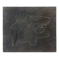 Early 1940s Original Carved Woodblock Sculpture by Edwin Scheier