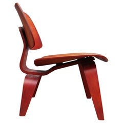 Early 1950s Herman Miller Eames Red Aniline Dyed LCW Lounge Chair