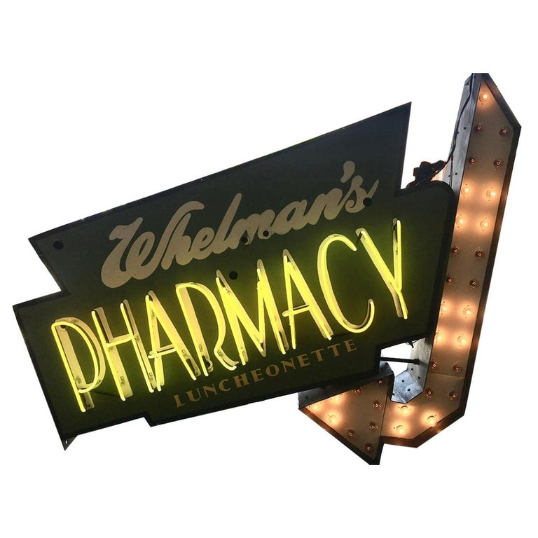 """Early 1950s Lighted Neon """"Pharmacy"""" Sign For Sale"""