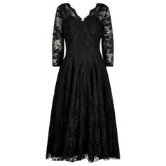 Early 1950s Marshal and Snelgrove Black Lace Dress