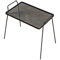 1950s Perforated Metal Minimalist Architects Side Table Serving Tray Cabinmodern