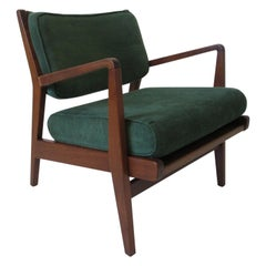 Early 1951 Jens Risom Low Upholstered Walnut Lounge Chair