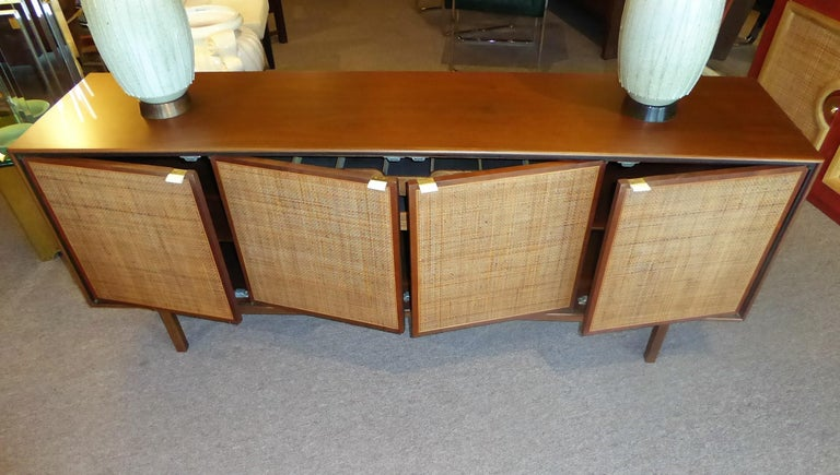 Cane Early 1960s Founders Furniture Florence Knoll Style Walnut Credenza For Sale