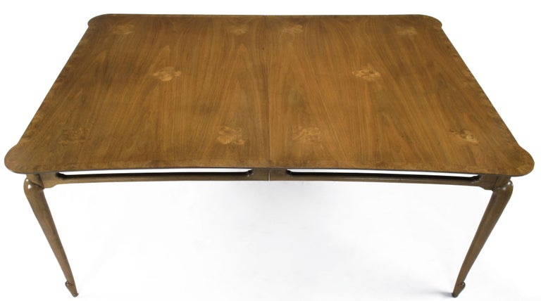 Mid-Century Modern Early 1960s Mastercraft Walnut and Burl Amboyna Marquerty Top Dining Table For Sale