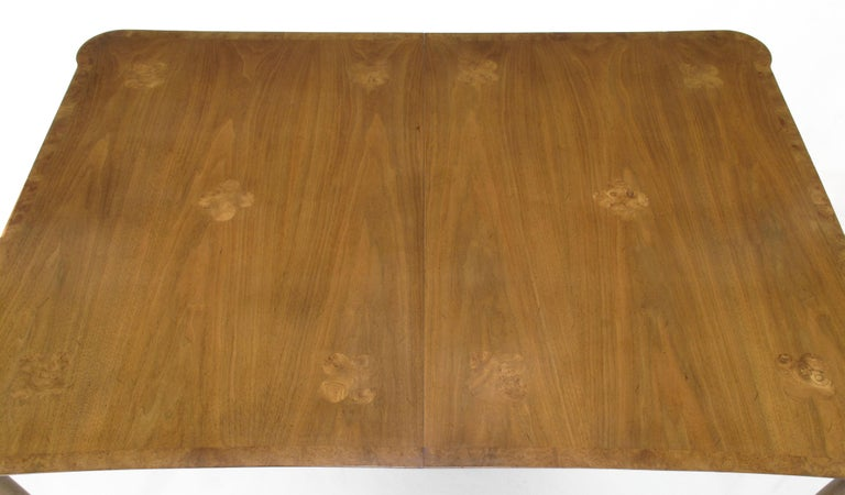 American Early 1960s Mastercraft Walnut and Burl Amboyna Marquerty Top Dining Table For Sale
