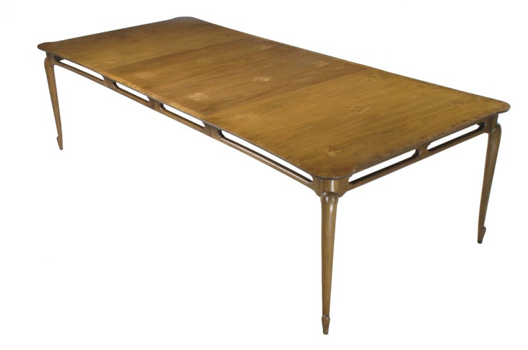 Mid-20th Century Early 1960s Mastercraft Walnut and Burl Amboyna Marquerty Top Dining Table For Sale