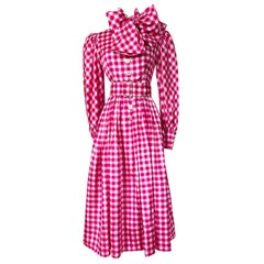 Early 1960s Norman Norell Pink Gingham Silk Dress w Bow & Pouf Sleeves