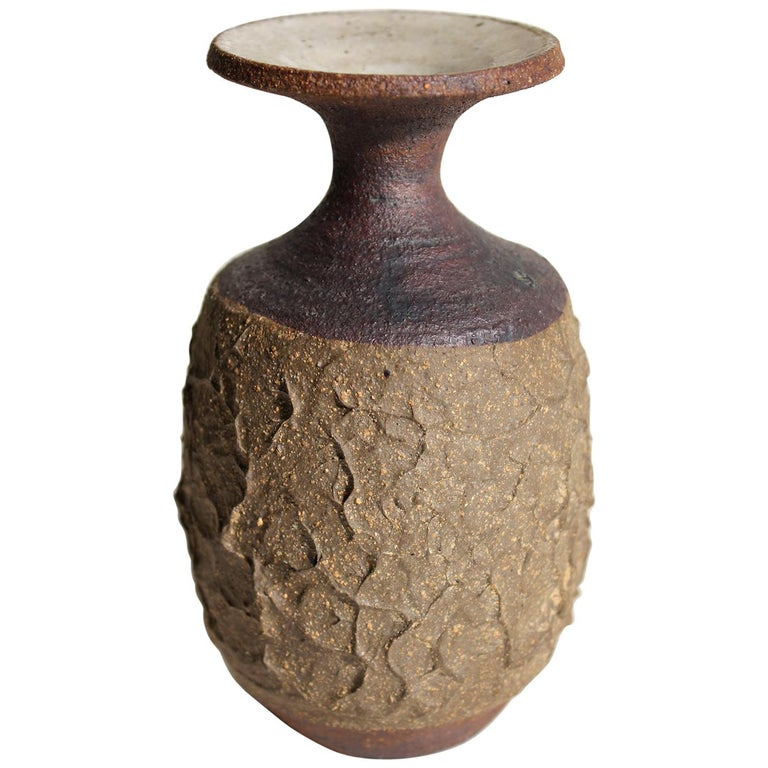 Early 1960s Robert Maxwell California Design Studio Art Pottery Vase Vessel For Sale