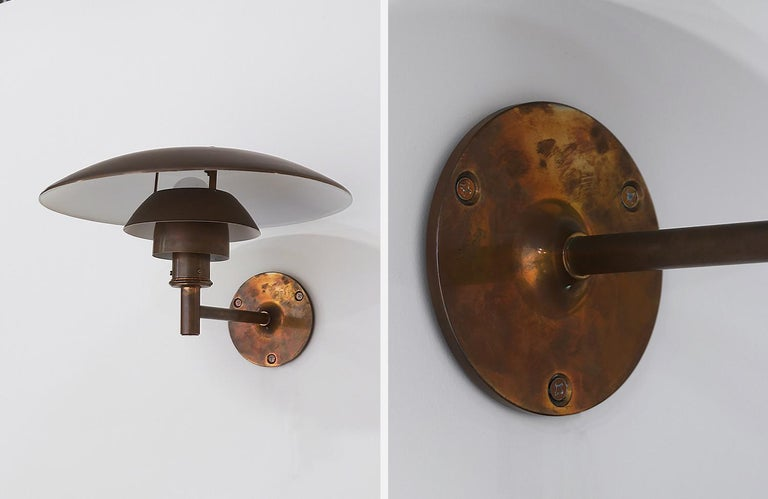 Mid-20th Century Early 1967 Poul Henningsen 4.5/3 Copper Sconces for Louis Poulsen For Sale