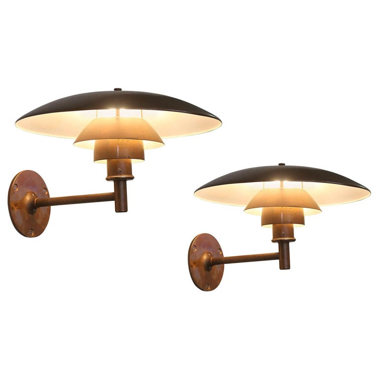 Early 1967 Poul Henningsen 4.5/3 Copper Sconces for Louis Poulsen For Sale