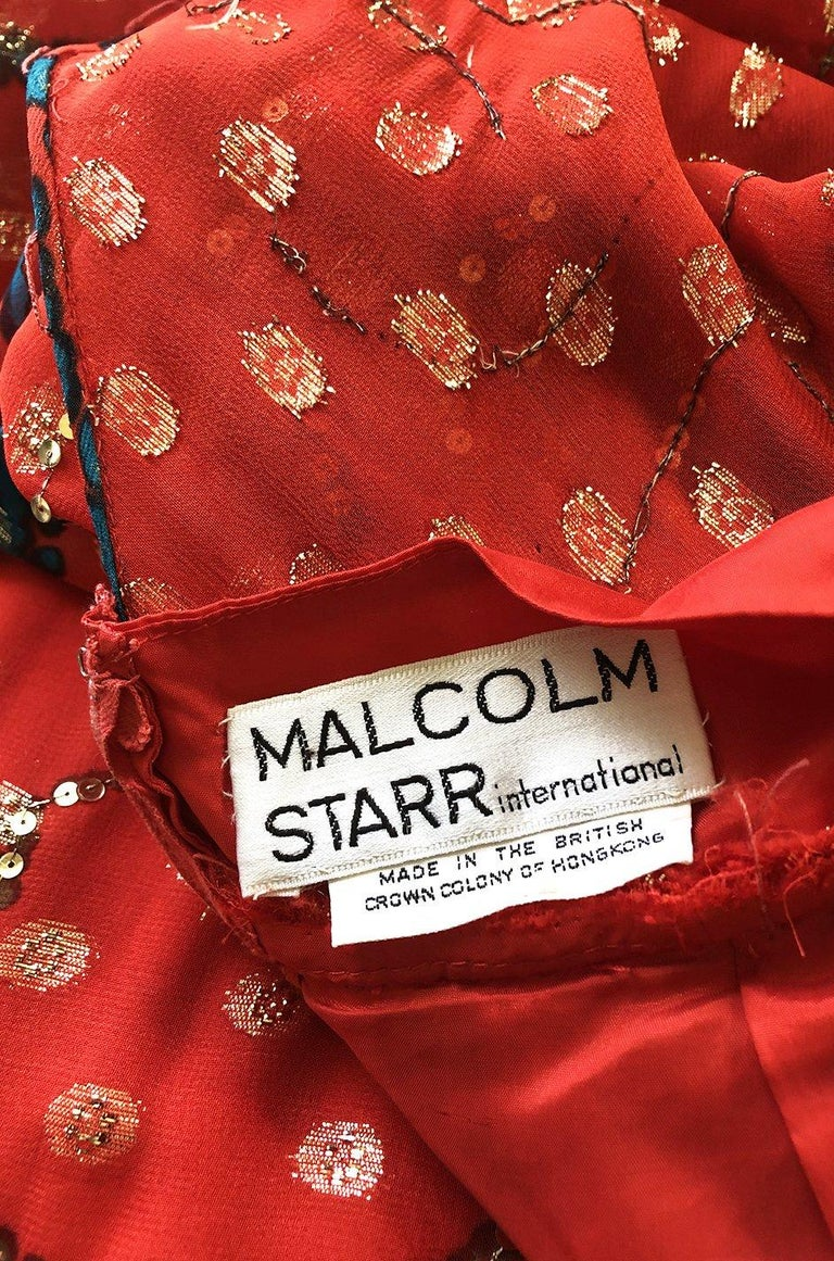 Early 1970s Malcolm Starr Red Silk Print Sequin & Metallic Gold Thread Dress For Sale 7