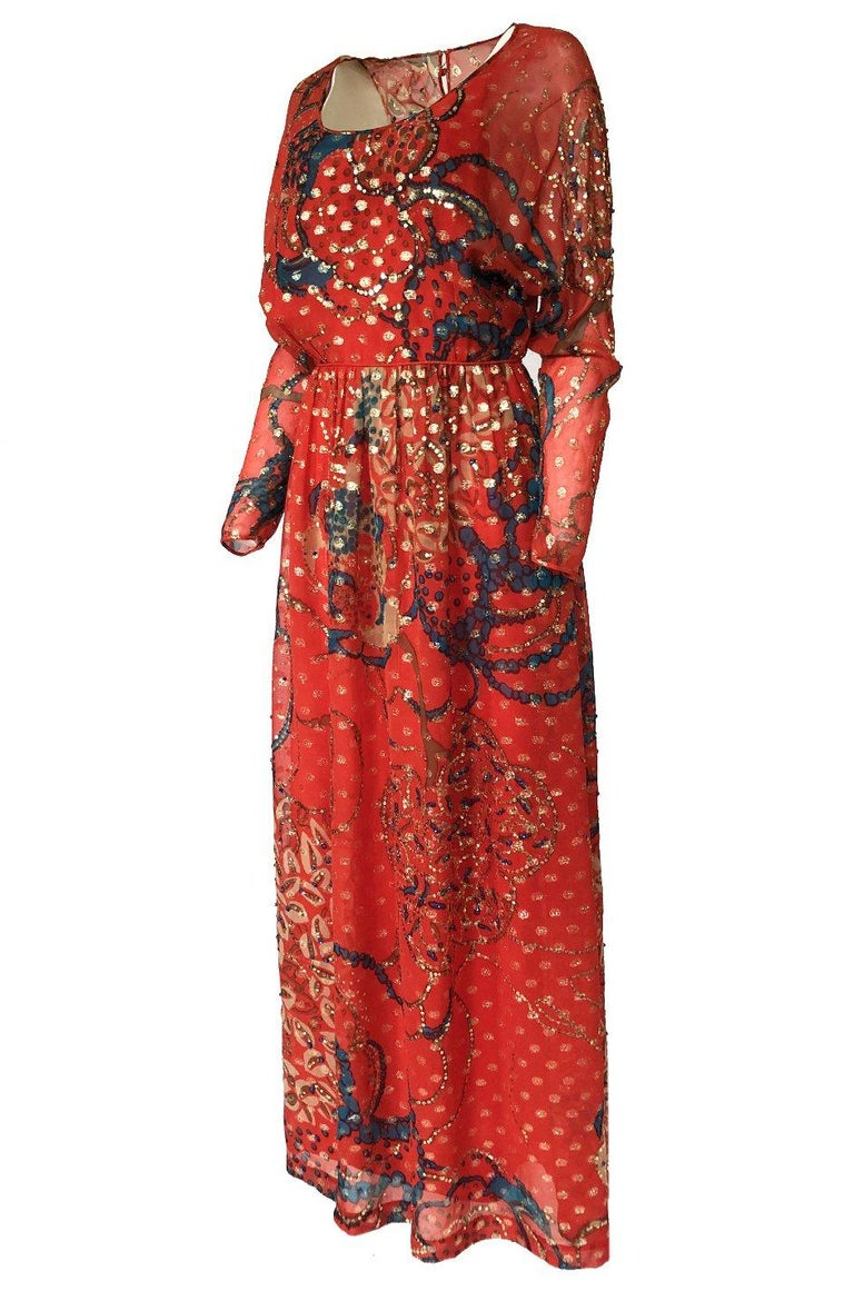 Women's Early 1970s Malcolm Starr Red Silk Print Sequin & Metallic Gold Thread Dress For Sale