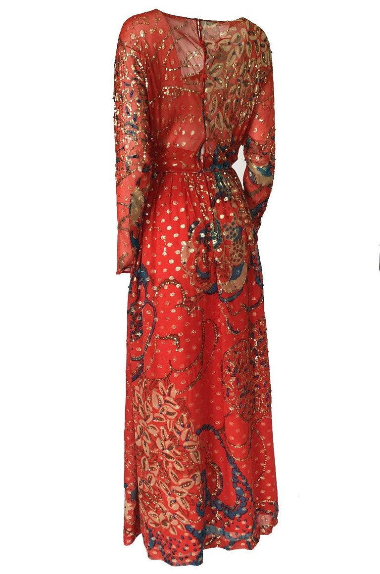 Early 1970s Malcolm Starr Red Silk Print Sequin & Metallic Gold Thread Dress For Sale 1