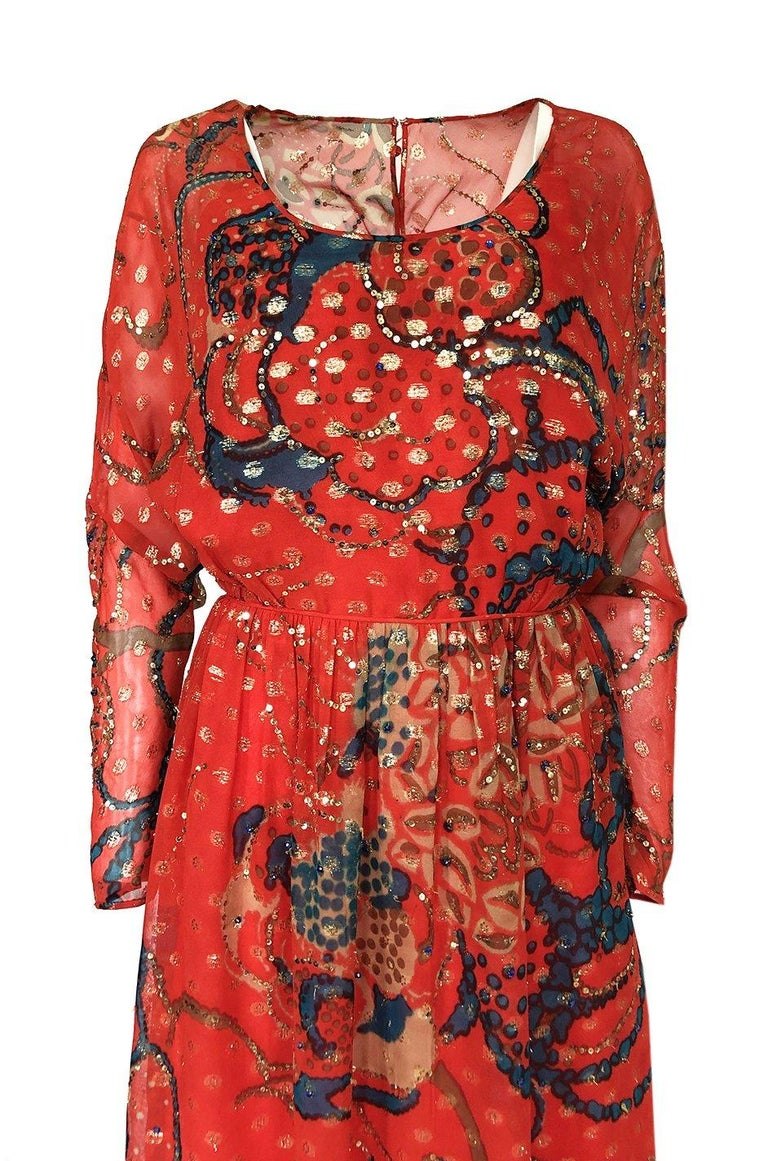 Early 1970s Malcolm Starr Red Silk Print Sequin & Metallic Gold Thread Dress For Sale 2
