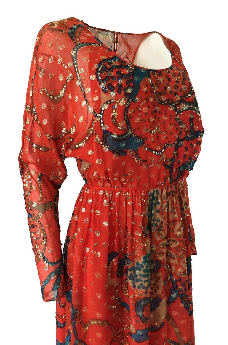 Early 1970s Malcolm Starr Red Silk Print Sequin & Metallic Gold Thread Dress For Sale 4
