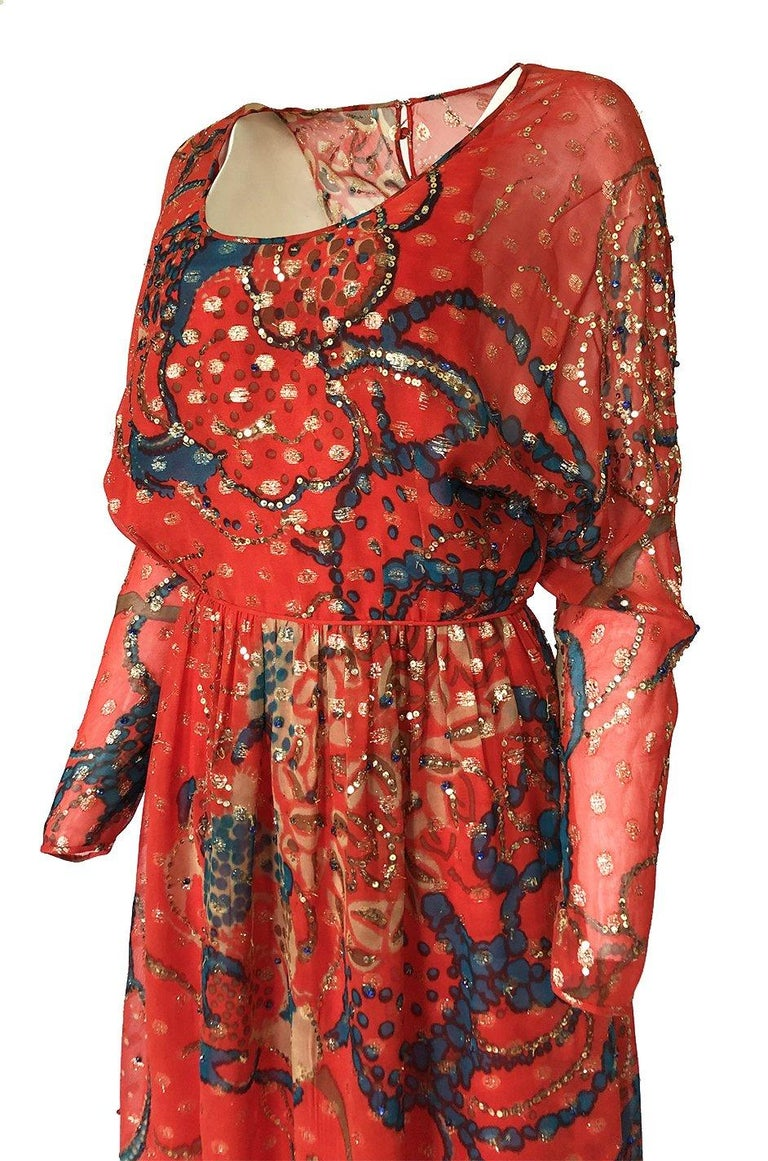 Early 1970s Malcolm Starr Red Silk Print Sequin & Metallic Gold Thread Dress For Sale 5