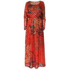 Early 1970s Malcolm Starr Red Silk Print Sequin & Metallic Gold Thread Dress