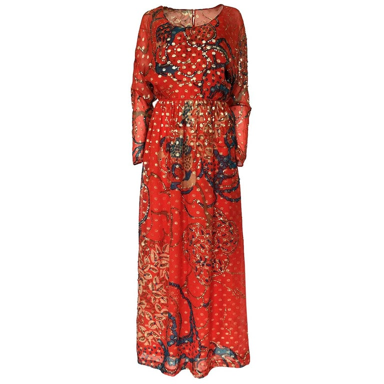 Early 1970s Malcolm Starr Red Silk Print Sequin & Metallic Gold Thread Dress For Sale