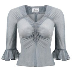 Early 1970s Quorum Silver Blue Disco Top With Flounce Sleeves