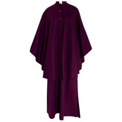 Early 1970s Yves Saint Laurent Deep Purple Wool Coachman Cape