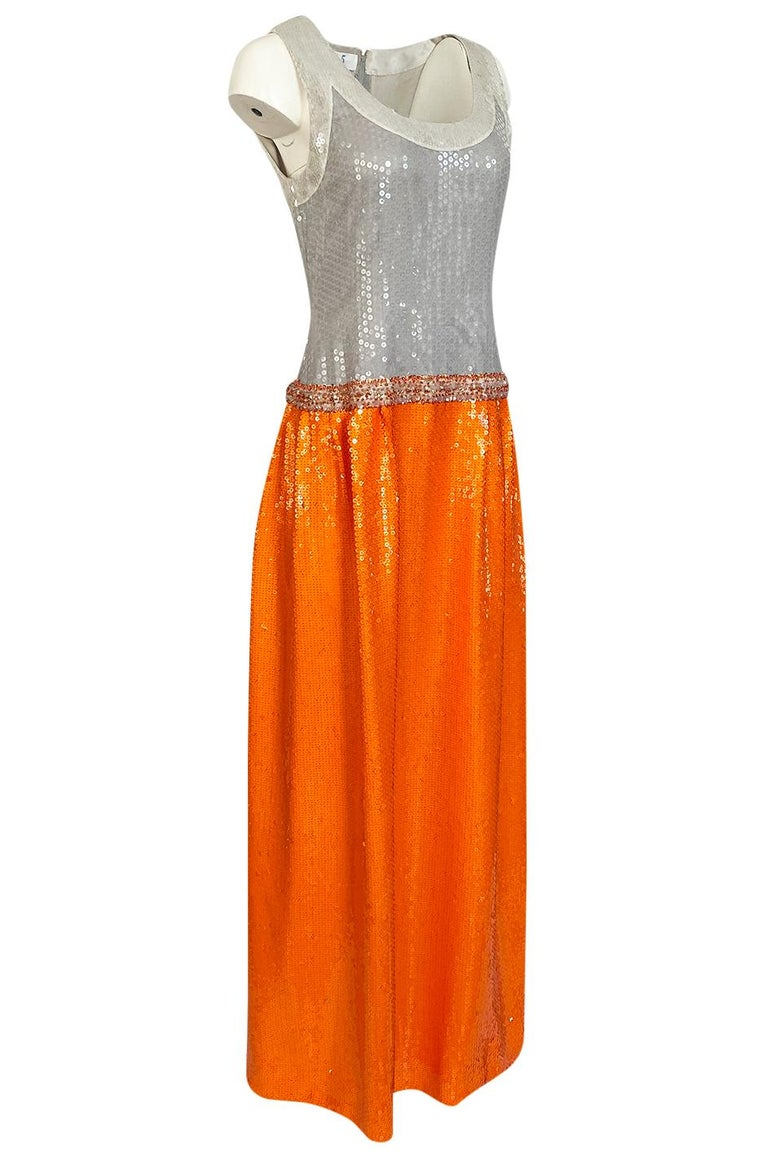 Early 1980s Andre Laug Alta Moda Numbered Couture Grey & Orange Sequin Dress In Excellent Condition For Sale In Rockwood, ON