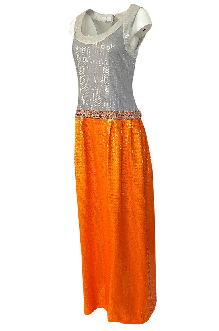 Women's Early 1980s Andre Laug Alta Moda Numbered Couture Grey & Orange Sequin Dress For Sale