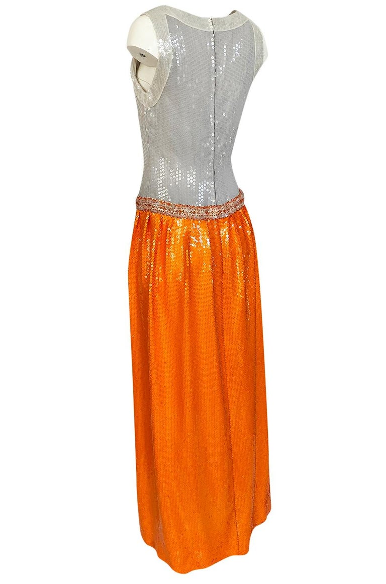 Early 1980s Andre Laug Alta Moda Numbered Couture Grey & Orange Sequin Dress For Sale 1