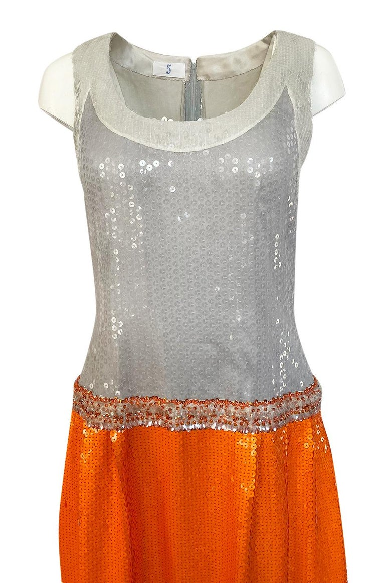 Early 1980s Andre Laug Alta Moda Numbered Couture Grey & Orange Sequin Dress For Sale 2
