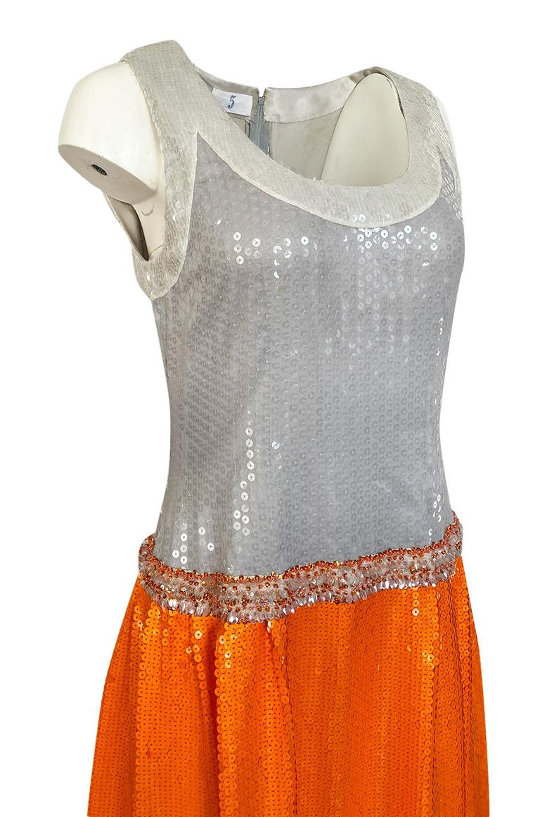 Early 1980s Andre Laug Alta Moda Numbered Couture Grey & Orange Sequin Dress For Sale 3