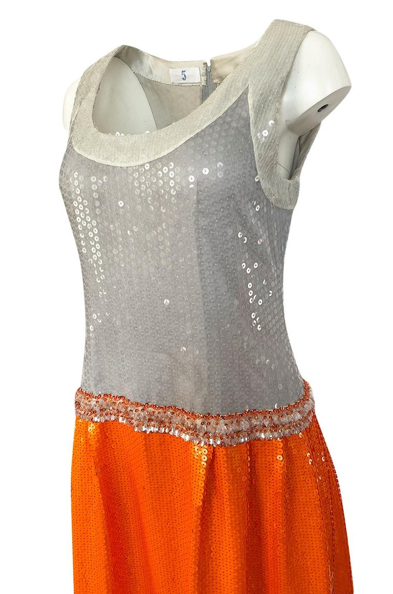 Early 1980s Andre Laug Alta Moda Numbered Couture Grey & Orange Sequin Dress For Sale 4