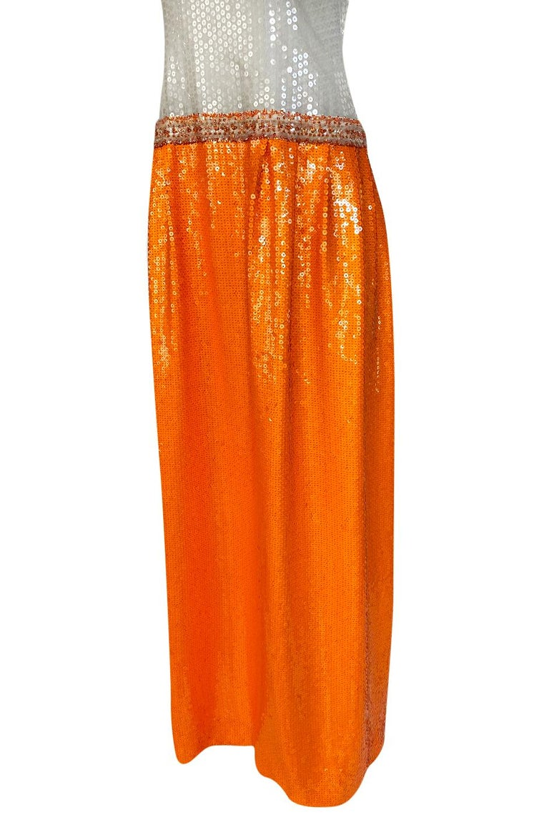 Early 1980s Andre Laug Alta Moda Numbered Couture Grey & Orange Sequin Dress For Sale 5