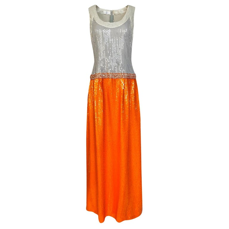 Early 1980s Andre Laug Alta Moda Numbered Couture Grey & Orange Sequin Dress For Sale