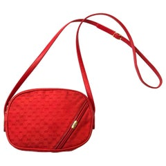 Early 1980's bright red Gucci canvas and leather shoulder cross body bag