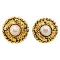 Early 1980s Chanel Clip On Earrings with Pearl Centers