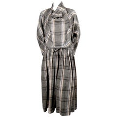 early 1980's ISSEY MIYAKE linen plaid dress with cowl neckline and waist tie
