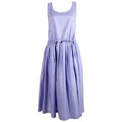 early 1980's ISSEY MIYAKE periwinkle blue cotton day dress with pleats