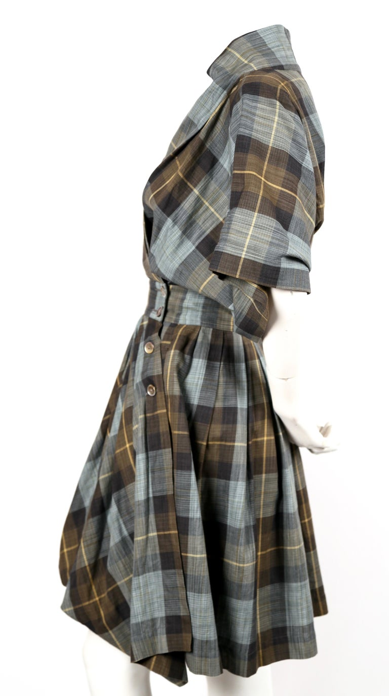 Gray early 1980's ISSEY MIYAKE plaid cotton dress with wrap closure For Sale