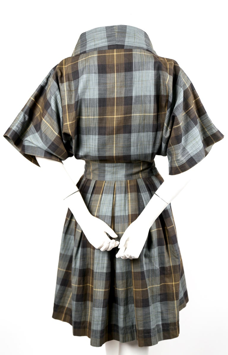 Women's early 1980's ISSEY MIYAKE plaid cotton dress with wrap closure For Sale