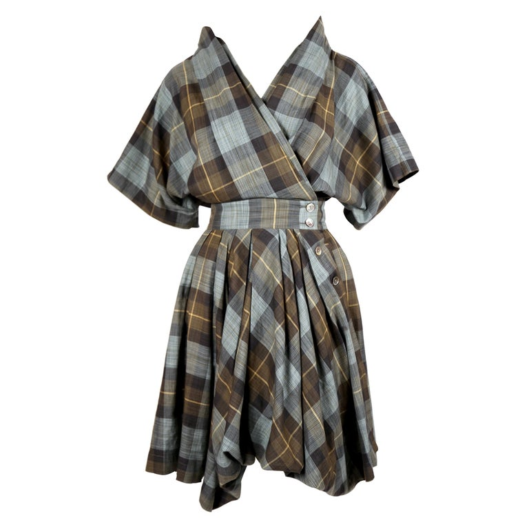 early 1980's ISSEY MIYAKE plaid cotton dress with wrap closure For Sale